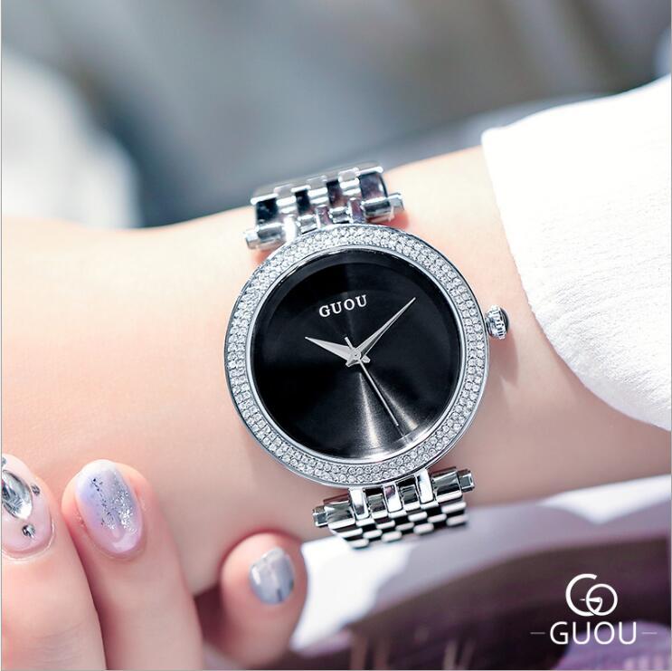 GUOU reloj de moda exquisita de cuarzo relojes de mujer superior de lujo de plata banda de acero reloj de pulsera para mujer reloj de mujer reloj femenino
