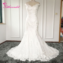 Real Photos Applique Vintage Mermaid Wedding Dresses Sheer Back Custom Made Lace Cap Sleeves Bride Dress Robe De Mariage