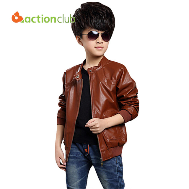 Actionclub Boys Leather Jacket Long Sleeve Turn Down Collar Casual ...