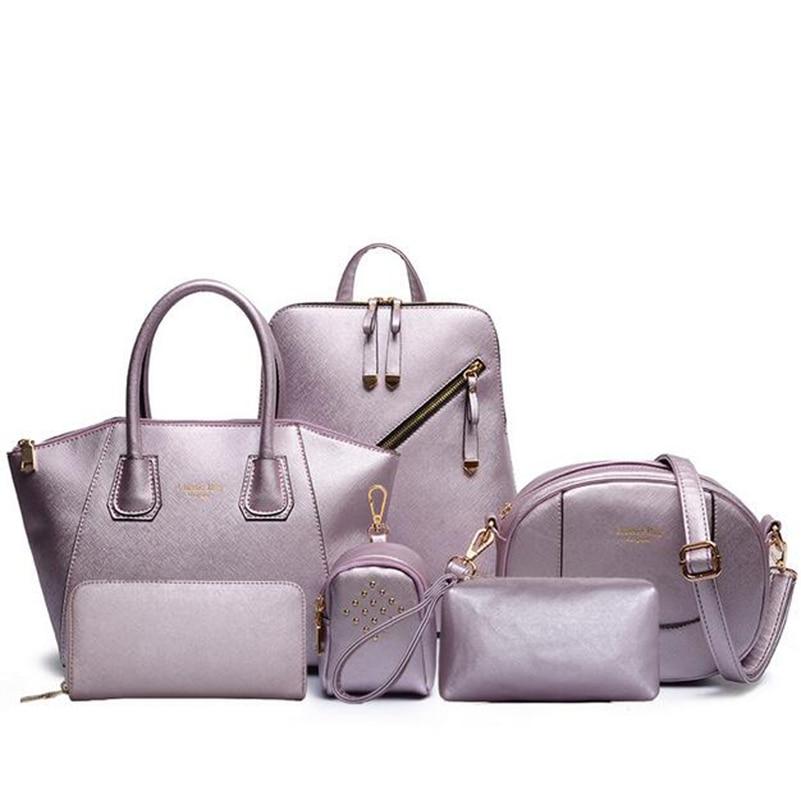 2019 nouveauté 6 Set sacs à main en cuir femmes sac de bureau Composite sac femmes sac à bandoulière + sac à main Designer + pochettes de jour + portefeuille - 2