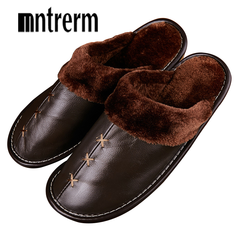 Mntrerm Winter Big Size Men Warm Plush Indoor Floor Genuine Leather Slippers Solid Home Shoes For Couple Bedroom House Slippers
