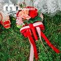 Красный Свадебные Цветы Свадебные Букеты 2016 Горячие Продажи Ленты Шелковые Невесты Свадебное Фото Аксессуар Проведения Брошь Букет Де Mariage