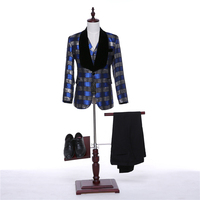 (Jackets+Pants+Vest) 2018 Fashion Men Suits Plaid Fabrics Slim Fit Groom Tuxedos Bridegroon Formal Prom Business Wedding Suits