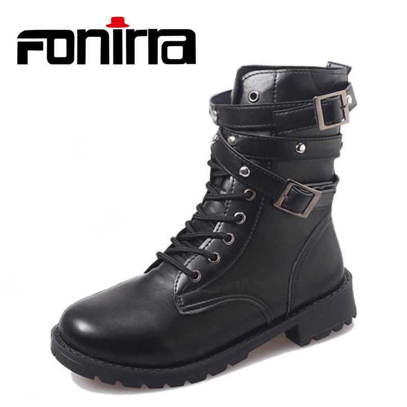 FONIRRA Black Rivet Women Punk Shoes Lace Up Gothic Belt Motorcycle Boots Round Toe Street Style Plus Size 35-43 Short Boots 961