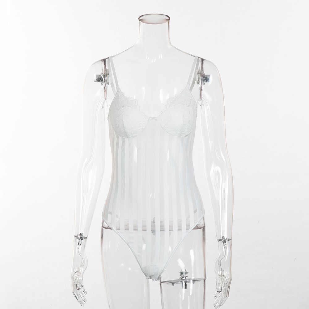 Женский сетчатый полосатый боди Cryptographic, сексуальный кружевной комбидресс на тонких лямках, прозрачный облегающий боди