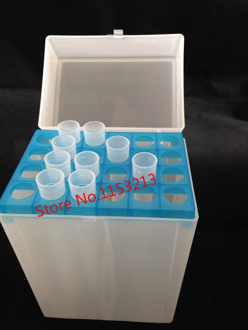 Plastic pipette tip box 24 vents for 10ml chemical laboratory pipette tip cartridge for 10000ul Size 125*87*183mm Aperture 16mm
