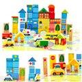 62 pcs DIY Madeira Blocos Da Cidade Criativa Compatível Crianças Primeiros Brinquedos Educativos De Madeira Conjunto ZS022