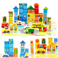 62pcs DIY City Wood Building Blocks Creative Compatible Kids Early Educational Wooden Toys Set ZS022