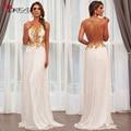 Barato 2016 branco Chiffon ouro vestidos Sheer V Neck apliques Backless mulheres vestidos Vestido