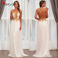 Cheap 2016 White Chiffon Gold Lace Prom Dresses Sheer V Neck Appliques Long Backless Formal Women Evening Gowns Vestido