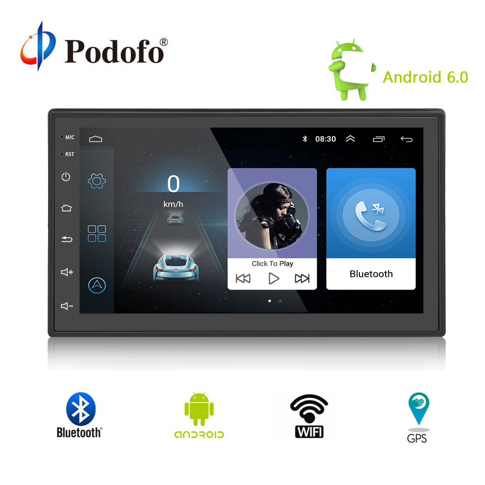 Podofo 2 din android radio bluetooth GPS Navigation wifi Stereo video 7 inch Universal in Car Multimedia Player GPS Stereo Audio цены