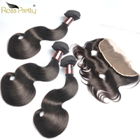 Brazilian Virgin Hair Body Wave Fullest Double Draw Hair 3bundles with Frontal Ross Pretty Human Hair Bundles with Frontal