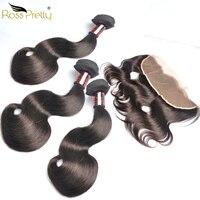 Brazilian Virgin Hair Body Wave Fullest Double Draw Hair 3bundles with Frontal Ross Pretty Human Hair Bundles with Frontal