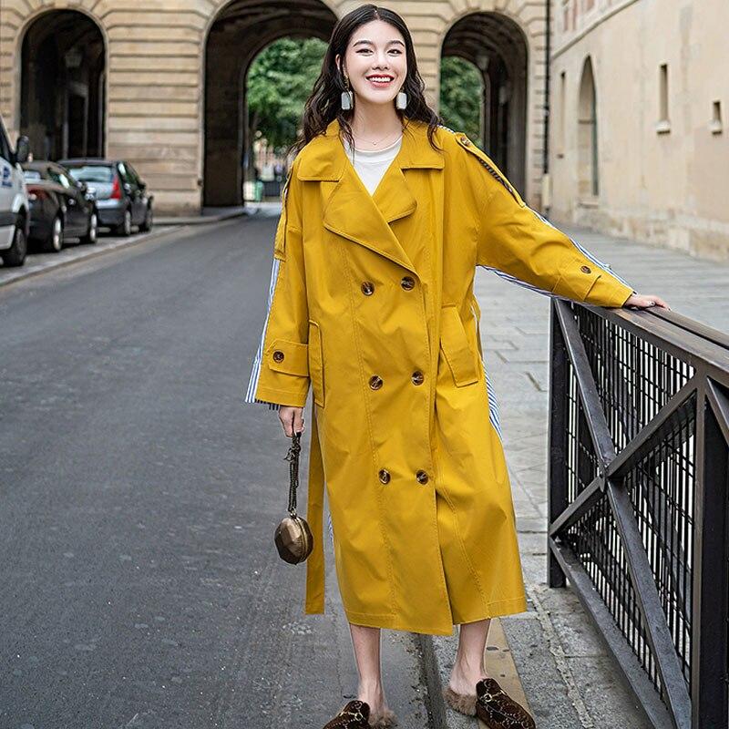Femmes Pardessus Lâche 2019 As Long Trench Double Épissage Boutonnage Getsring coat Bande À Femelle vent Lacets Printemps Manteau Picture Coupe d0wq7