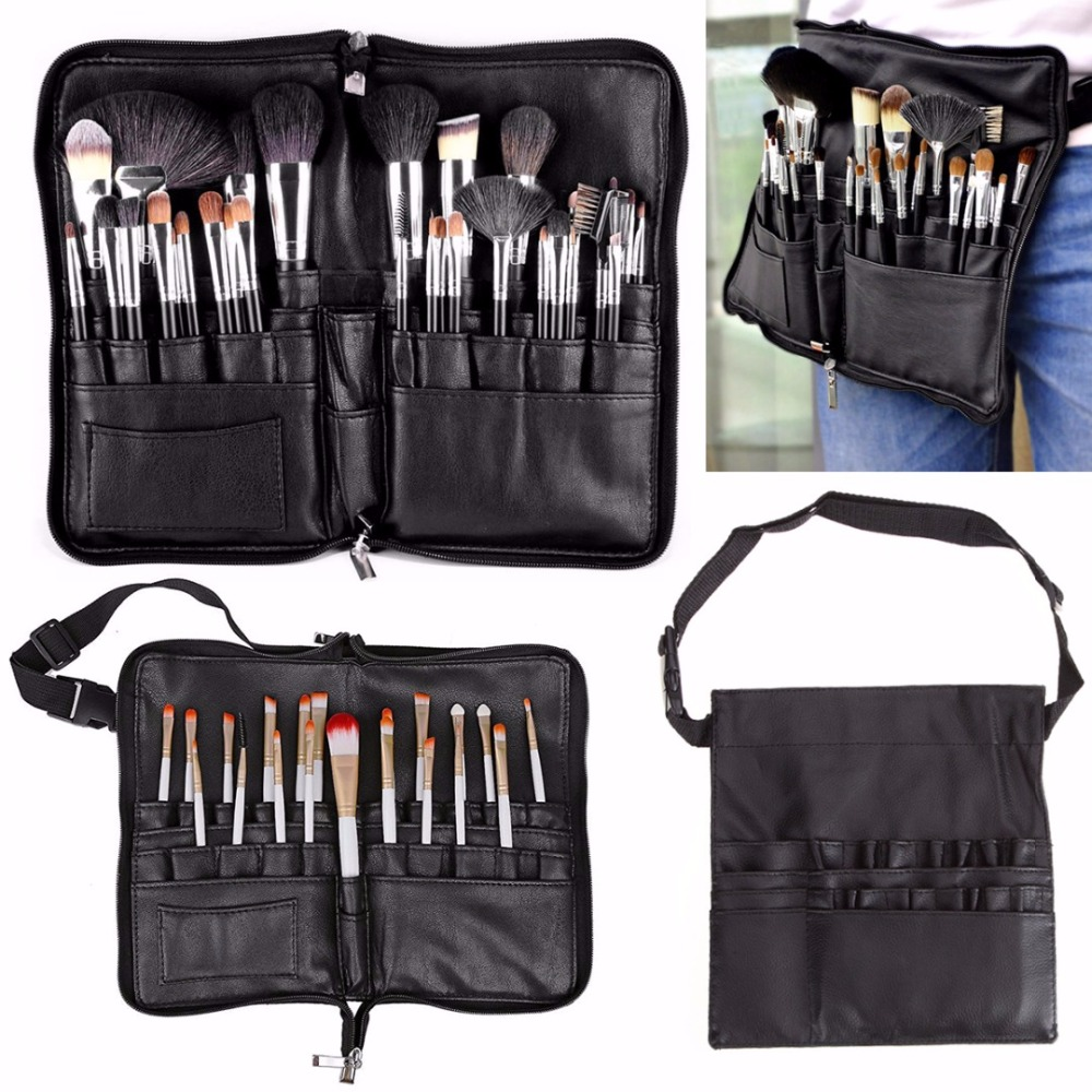 Mayitr 2 Styles Protable Cosmetic Tools Bag Black Professional Cosmetic Makeup Brushes Apron Bag Pouch Belt Strap Holder professional cosmetic makeup brushes in a pink pu bag