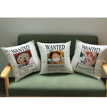 One Piece Cushion Covers Monkey D Luffy Zoro Sanji Print Cartoon Pillowcase Cotton Linen Home Decorative Sofa Throw Pillow cover