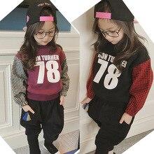 Girls Sweatshirt  New 2016 Kids Patchwork Plaid Shirt Thicken Children Fleece Toddler Numbers Tops Baby Winter Pullover,2-7Y