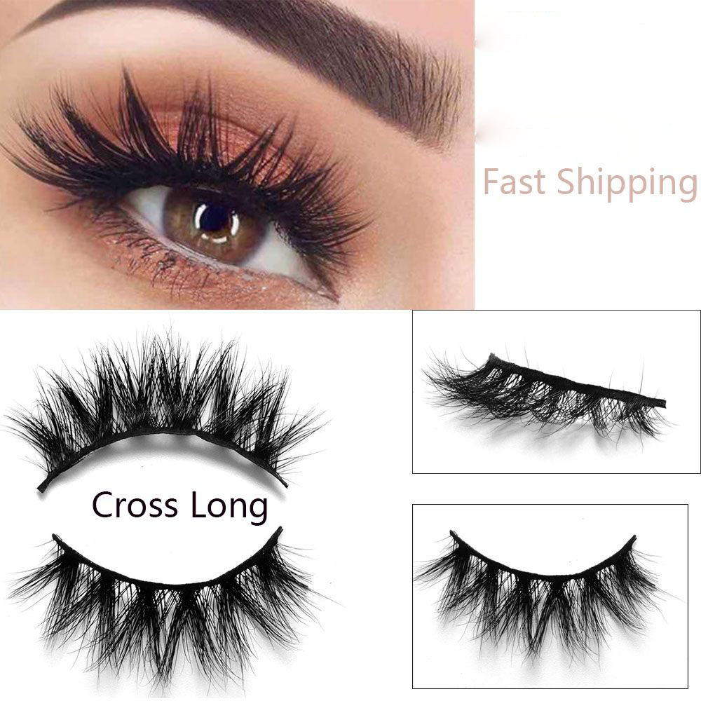afabc0d2dd9 1 Pair Real 3D Luxurious Siberian Mink Strip False Eyelashes Cross Long Eye  Lashes