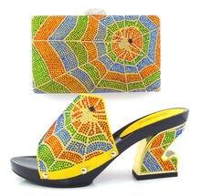 Artikel-nr. HT11-YELLOW Afrikanische schuhe und tasche setzt AUF VERKAUF, Italienisches design hohe schuhe mit passender tasche