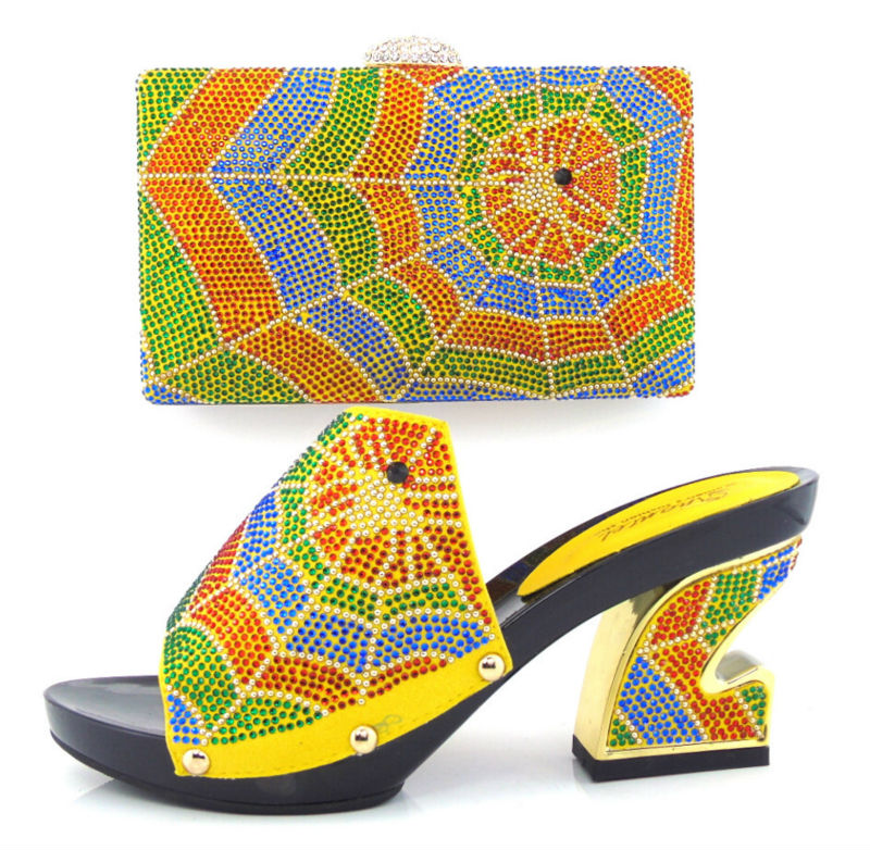 ФОТО Item No.HT11-YELLOW African shoes and bag sets ON SALE,Italian design high heel shoes with matching bag