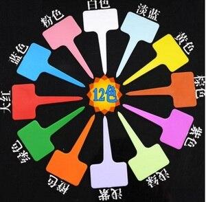 Image 1 - Etiqueta de planta de vivero de plástico de ornamentos de jardín 200 Uds. Marca de etiqueta gruesa de flor para el jardín estacas tipo T Colore
