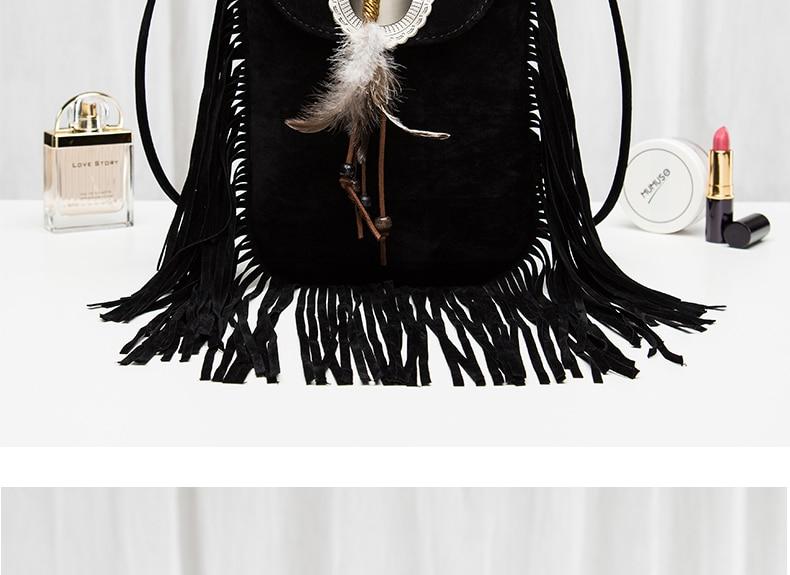 Hippie Suede Fringe Tassel Messenger Bag Women Hobo Shoulder Bags Crossbody Handbag (16)