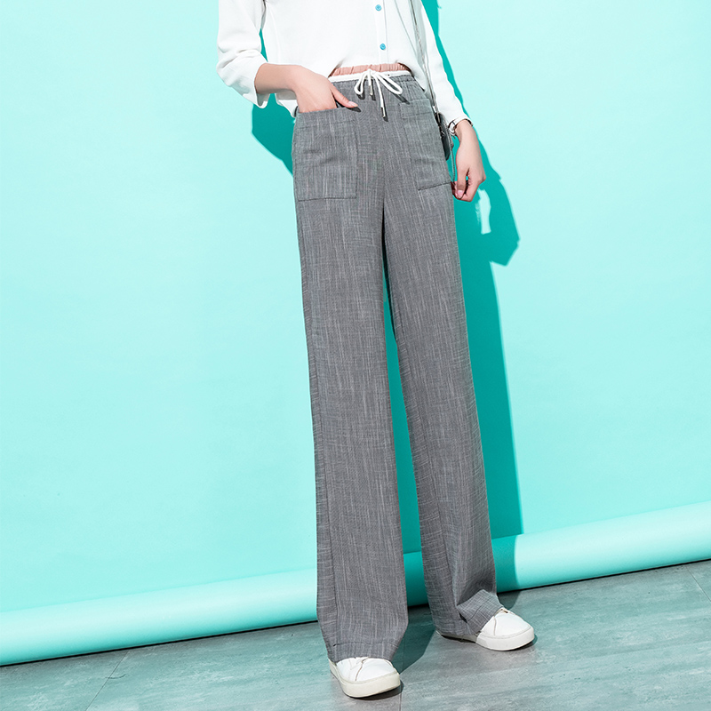 Women High Waist   Wide     Leg     Pants   2019 Summer Gray Loose Streetwear Palazzo Trousers Elegant Korean   Pants   Capri Women Clothes 2019