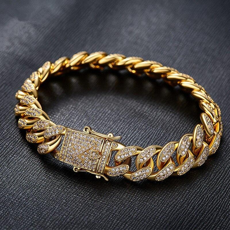 Mens de luxe Bracelet Jaune/Blanc Or Rempli Micro Pave Complet CZ Zircon Bracelet Hip Hop Chaîne Cubaine