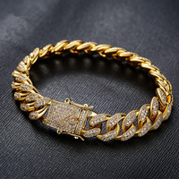 Luxury Mens Bracelet Yellow/White Gold Filled Micro Pave Full CZ Zirconia Bracelet Hip Hop Cuban Chain