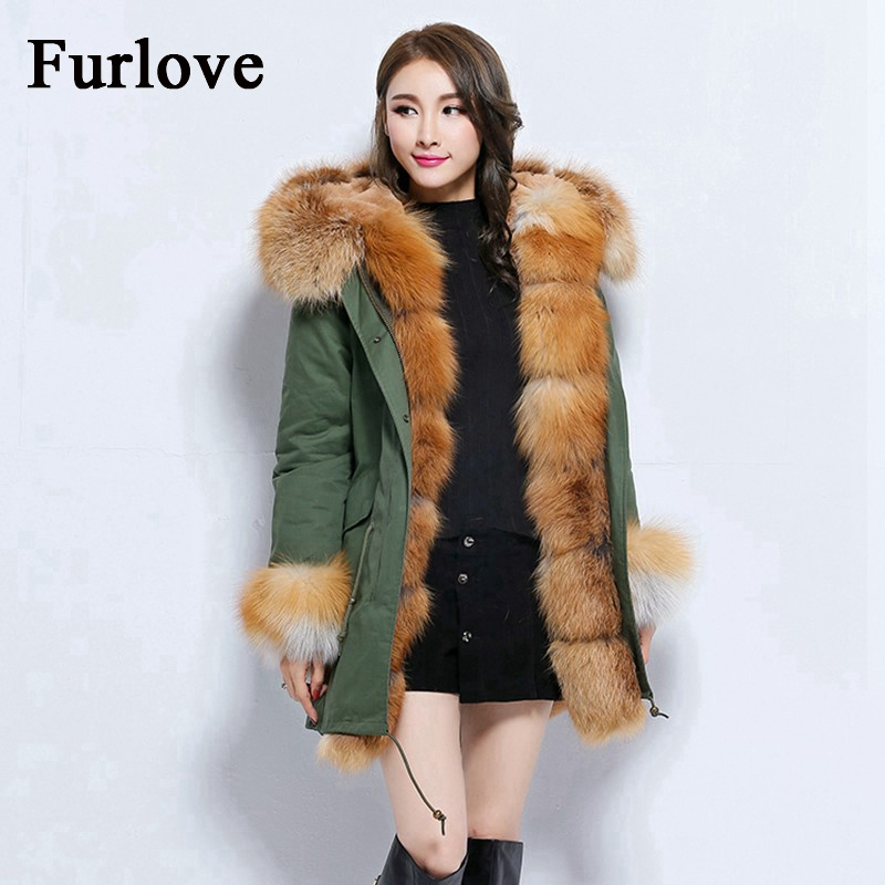 Women Winter Jacket 2017 Army Green Black Long Coat Detachable Lining Jackets Real Fox Fur Collar Hooded Coats Thick Parka Brand kohuijoos 3xl winter women army green large raccoon fur collar hooded coat warm detachable natural fox fur lining parka coats