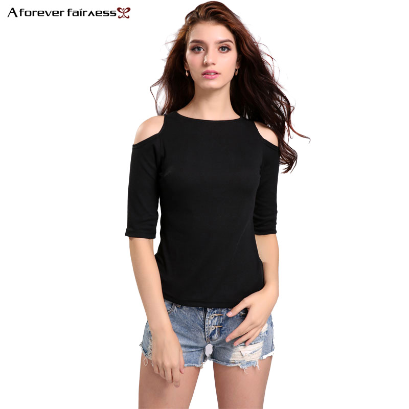 A Forever 2018 Hot Spring Summer Half Sleeve Tees Fashion T-Shirt Sexy Off Shoulder Shirt Women Tops Slim Solid T-Shirts AFF1124