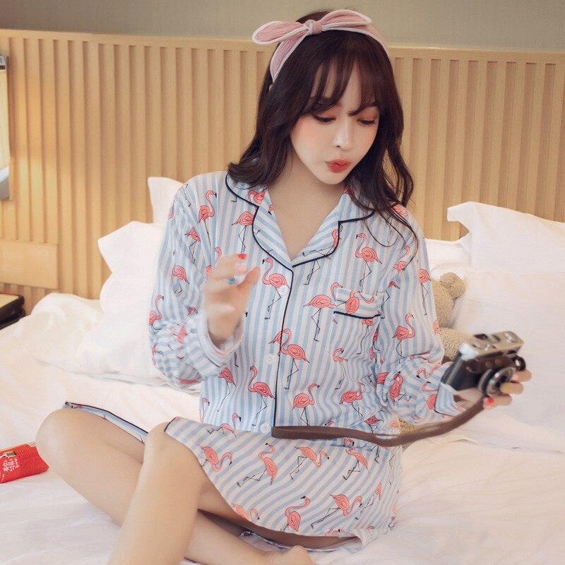 Striped Flamingos Women Big Yards T Shirt Dress Nightgown Robe Cotton Nightshirt Ladies Nightwear Pijama Sleepwear Nightdress