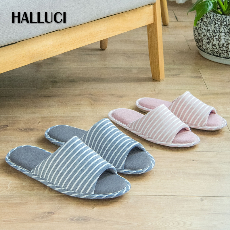 HALLUCI  Peep-toe slippers couples slides striped bulk women shoes mules zapatos mujer flip flops platform shoes pantufa chinelo halluci breathable sweet cotton candy color home slippers women shoes princess pink slides flip flops mules bedroom slippers