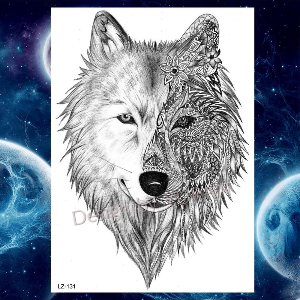 "Á—""yuran Sexy Black Wolf India Women Temporary Tattoos Stickers Body Art Drawings Tattoo Fake Water Transfer Custom Tatoos A85"