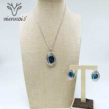 Viennois New Silver/ Rose Gold/Gold Color Rhinestone Stud Earrings Necklace Jewelry Set for Women Female Party Jewelry Sets 2019