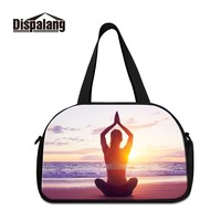 Dispalang Lightweight Functional Folding Duffel Vintage Design Travel Totes for Lady Print Yoga Logo Picture Women Weekend Bags