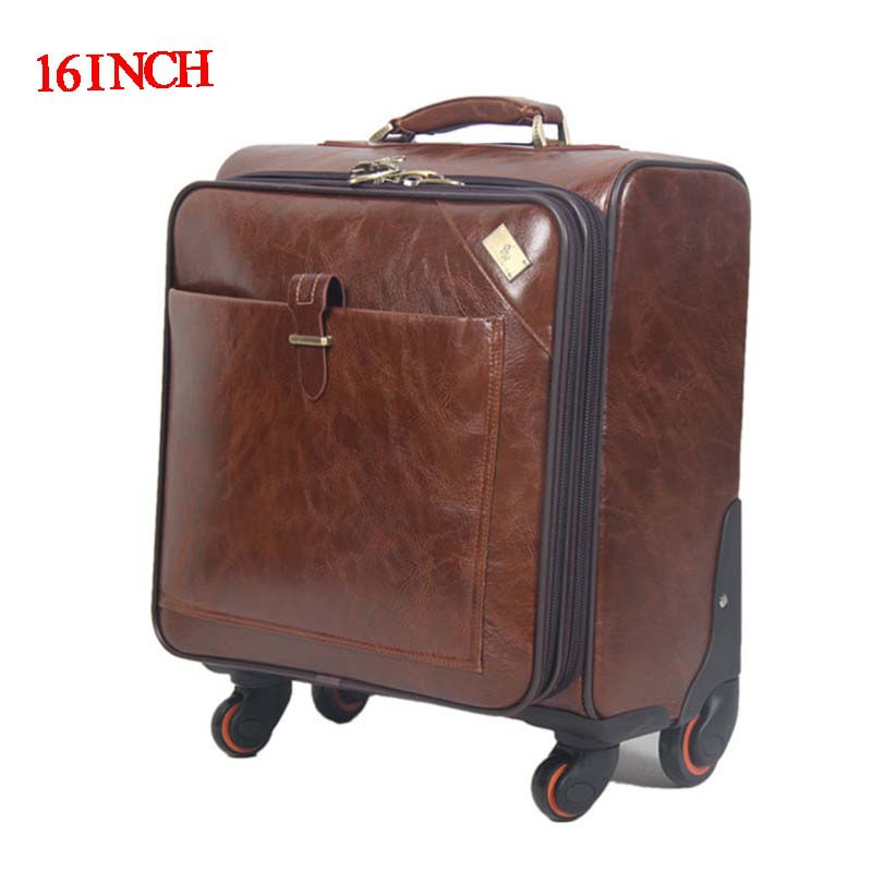 16 INCH Coffee Leather Trolley Luggage Business Case Men's Suitcase Travel Bag wheel rolling luggage mala