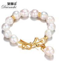 Dainashi Fashion Gold Plated Bowknot Pearl Bracelet For Women Genuine Freshwater Pearl Bracelet 12 13mm 16