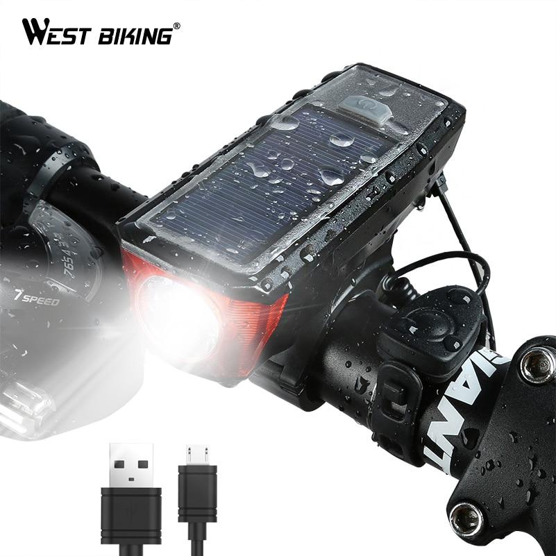 Ouest vélo énergie solaire vélo lumière étanche 350 Lumen vélo cloche lumière LED USB Rechargeable lampe avant phares vélo lumière