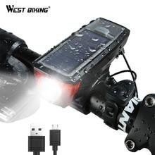 WEST BIKING Solar Power Bike Light Waterproof 350 Lumen Bicycle Bell Light LED USB Rechargeable Lamp Front Headlights Bike Light