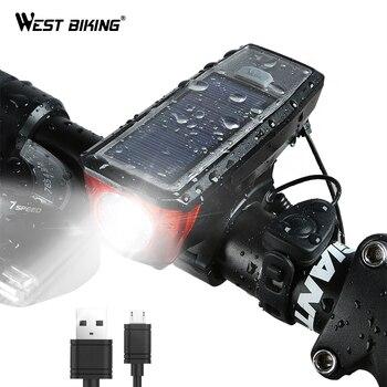 Zachód jazda na rowerze energii słonecznej rower światła wodoodporna 350 lumenów dzwonek rowerowy światła LED lampka USB z możliwością ładowania przednie reflektory światła rowerowe