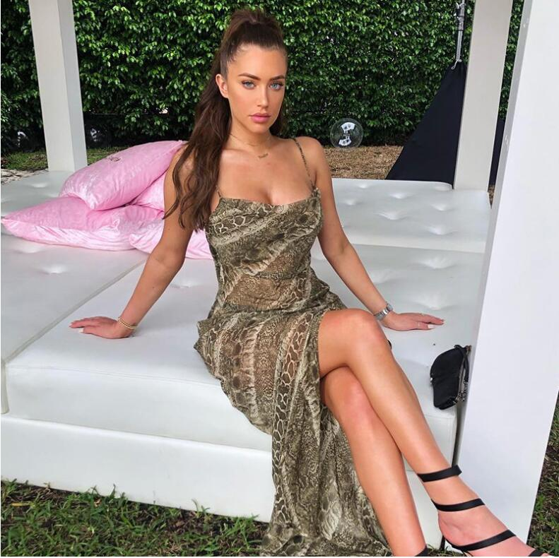 Mesh See-through Snakeskin Sexy Dresses Spaghetti Straps Split Sexy Backless Elegant Christmas Party Long Dress
