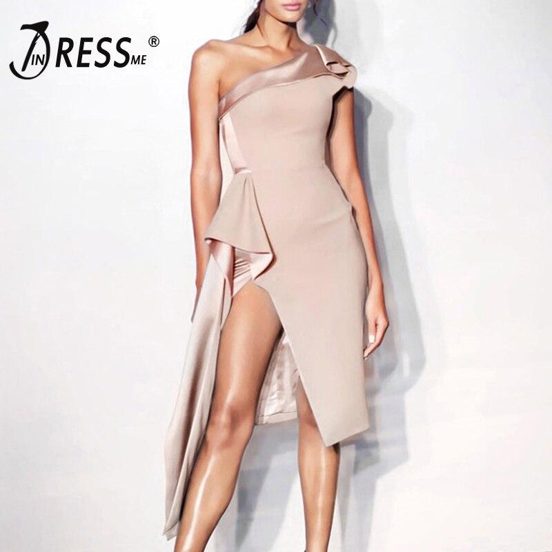 INDRESSME Sexy One Shoulder Slash Neck Split Women Party Dress Elegant Midi Backless Bodycon With Sashes Summer Vestidos 2018