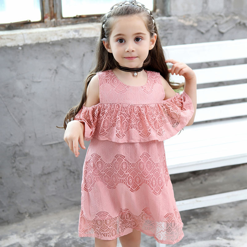 VFOCHI 2019 New Girl Dresses Summer Casual Girls Clothes Lace And Flower Design Baby Girls Dress Kids Dresses For Girls 1 10Y in Dresses from Mother Kids