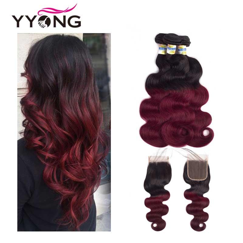Cabelo Ombre 3 Pacotes Com Fecho Yyong Profissional 1B/99J Borgonha Vinho Vermelho escuro 100% Humano da Trama Do Cabelo Onda Do Corpo Brasileiro cabelo