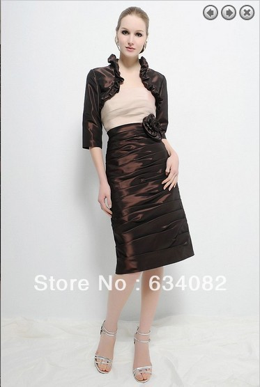 Free Shipping 2014 Satin Dress Women Elegant Dress Plus Size Vestidos Formales Short Mother Of The Bride Dresses With Jacket