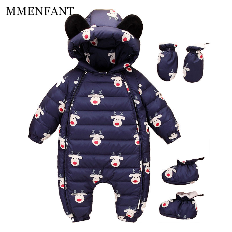 Christmas Winter baby girls boys down thick rompers children Deer jacket kids 90%White duck down jumpsuits newborn overalls 0-3Y russia winter baby grils boys down thick rompers children wadded jacket kids cotton padded fleece fur jumpsuits newborn overalls