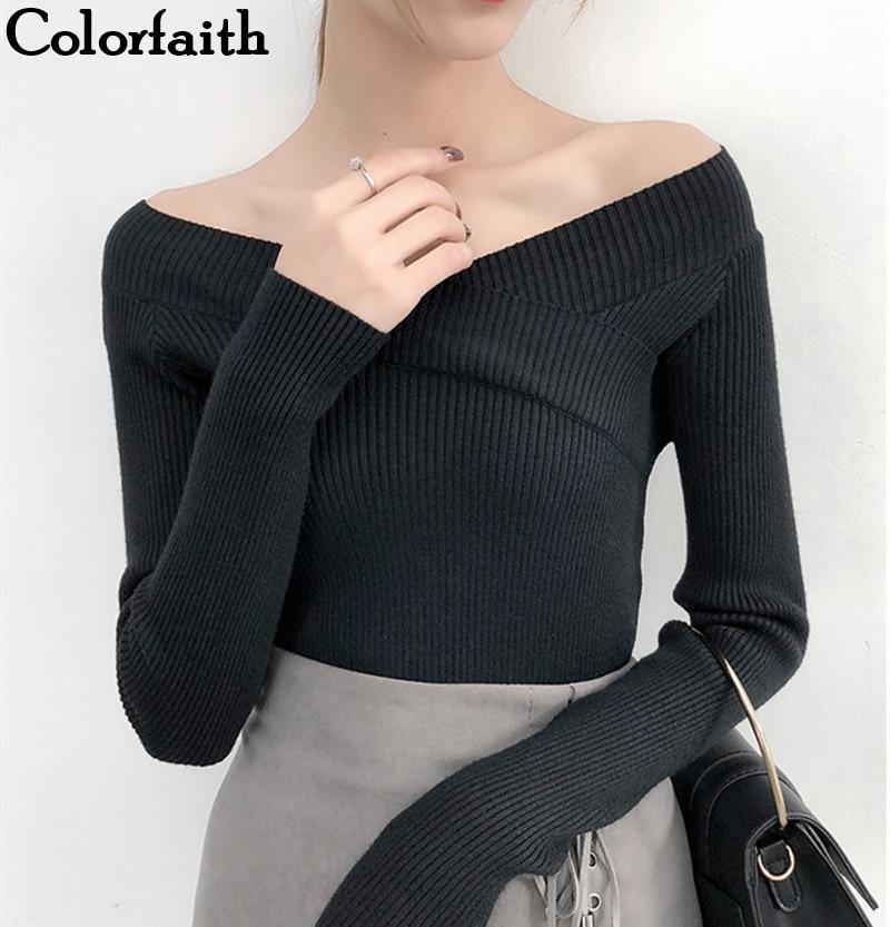 100% QualitäT Colorfaith Frauen Pullover Pullover 2019 Gestrickte Herbst Winter Mode Bodenbildung Elegante Sexy Slash Neck Damen Tops Sw372 Verschiedene Stile