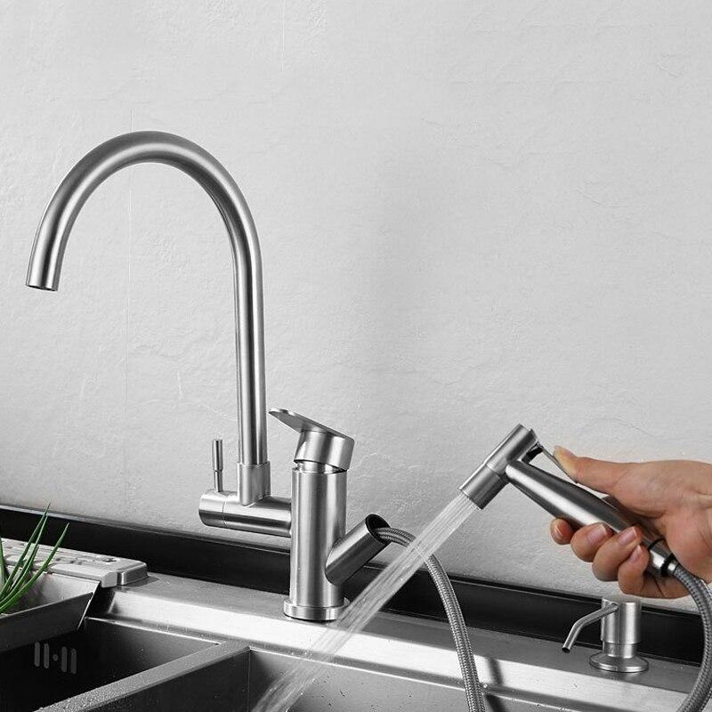 Robinet de cuisine tirer la tête de pulvérisation en acier inoxydable bec pivotant vanité évier robinet pont monté eau chaude froide mélangeur robinet pistolet de pulvérisation