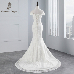 PoemsSongs real photo 2019 new style boat neck beautiful lace wedding dress for wedding Vestido de noiva Mermaid wedding dress 9